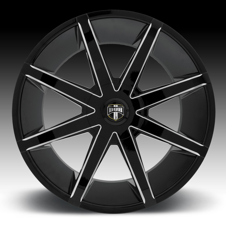 Black Wheels Dub Alloys: Dub Push S109 Black Milled Custom Wheels Rims