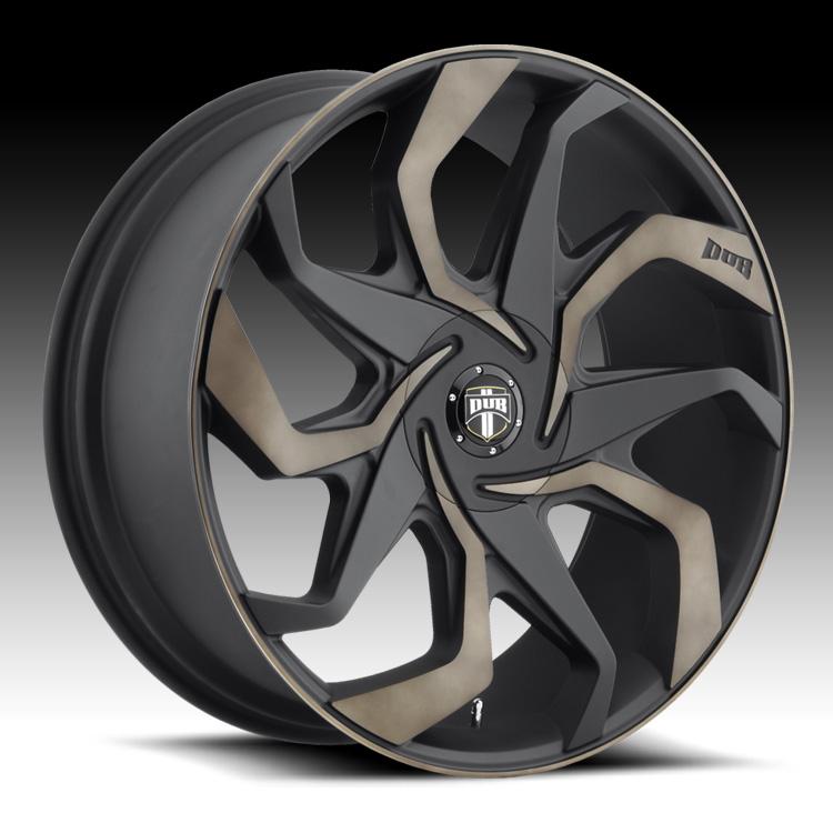 Black Wheels Dub Alloys: Dub Sleeper S125 Machined Black DDT Custom Wheels Rims