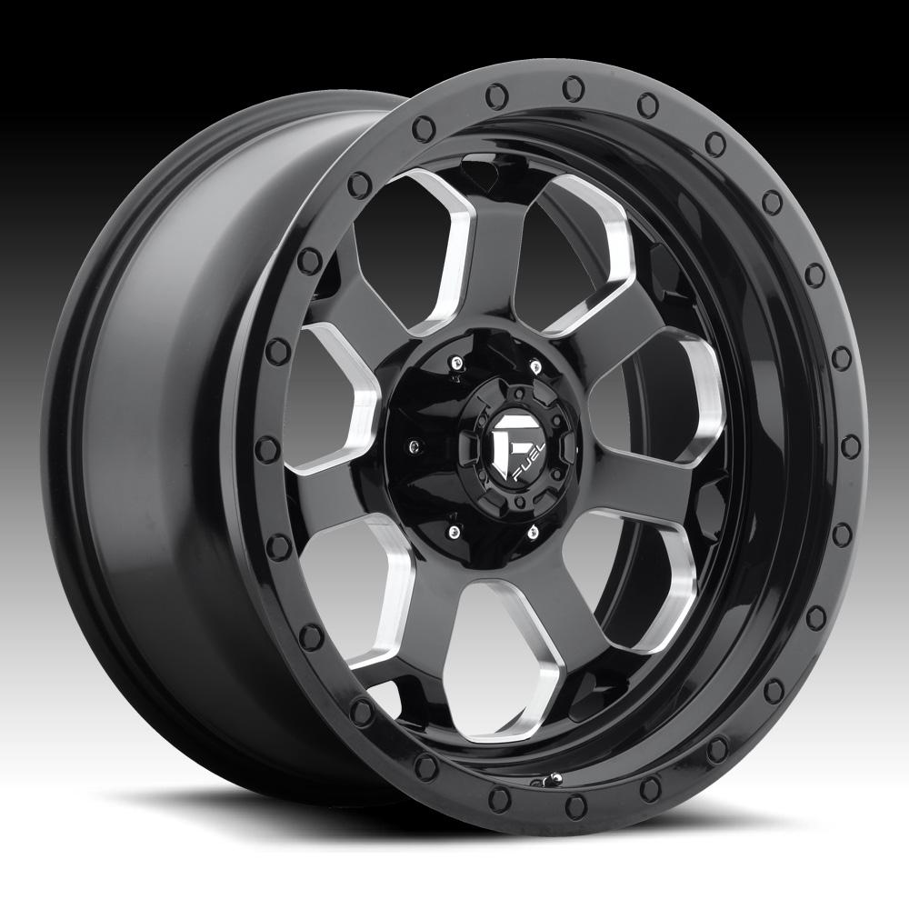 Truck Wheels Rims : Fuel savage d gloss black milled custom truck wheels