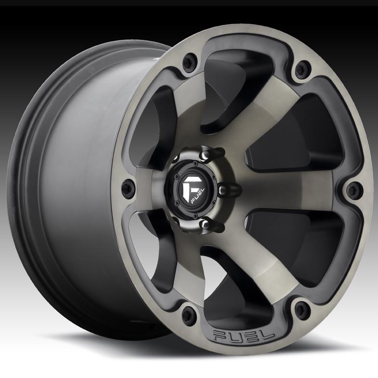 Truck Wheels Rims : Fuel beast d matte black machined w dark tint custom