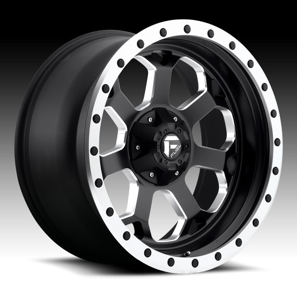 Truck Wheels Rims : Fuel savage d matte black milled custom truck wheels