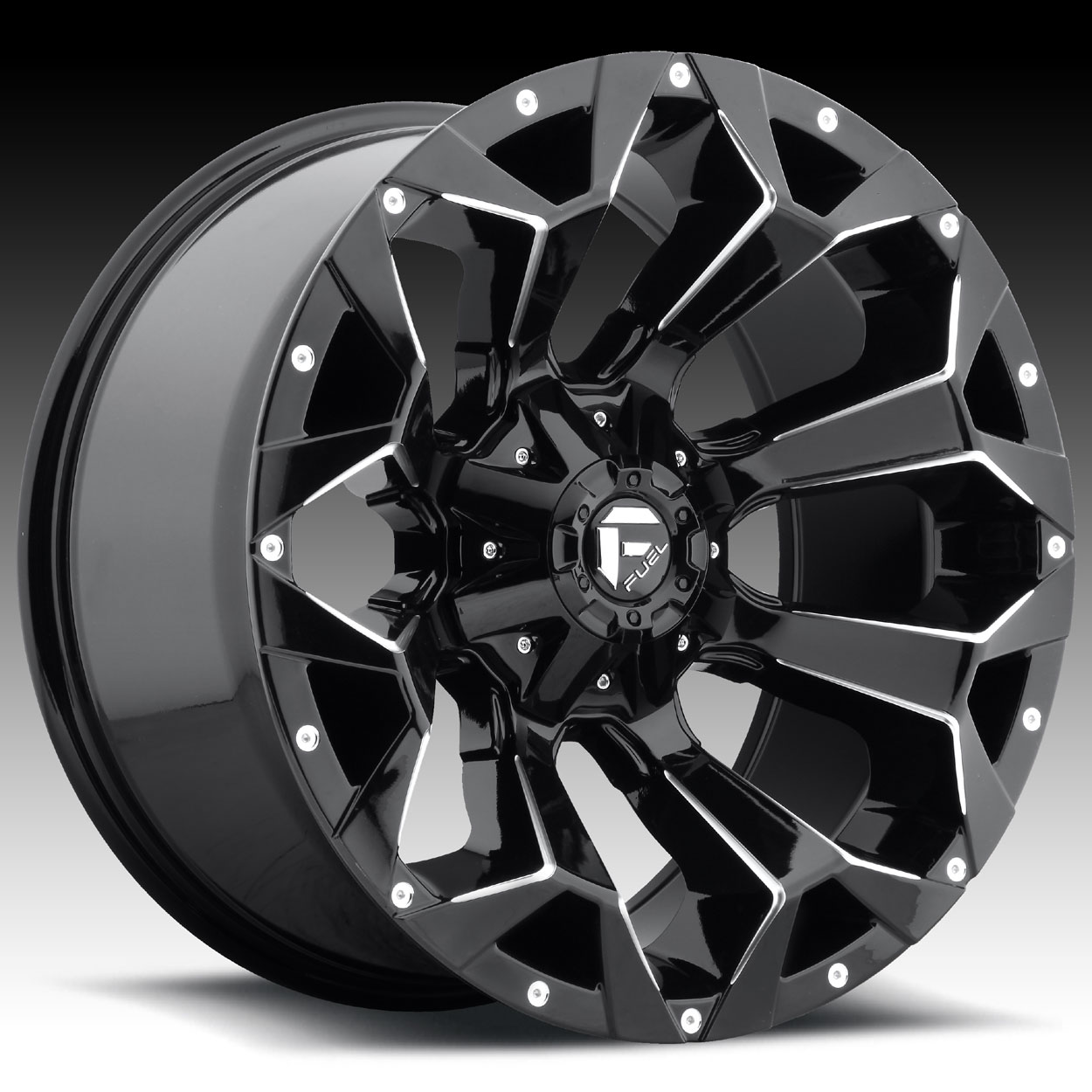 Fuel Assault D576 Gloss Black Milled Custom Truck Wheels