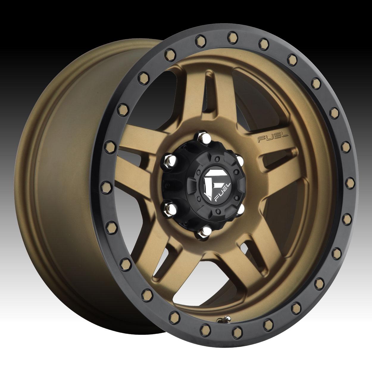 Truck Wheels Rims : Fuel anza d matte bronze w black ring custom truck