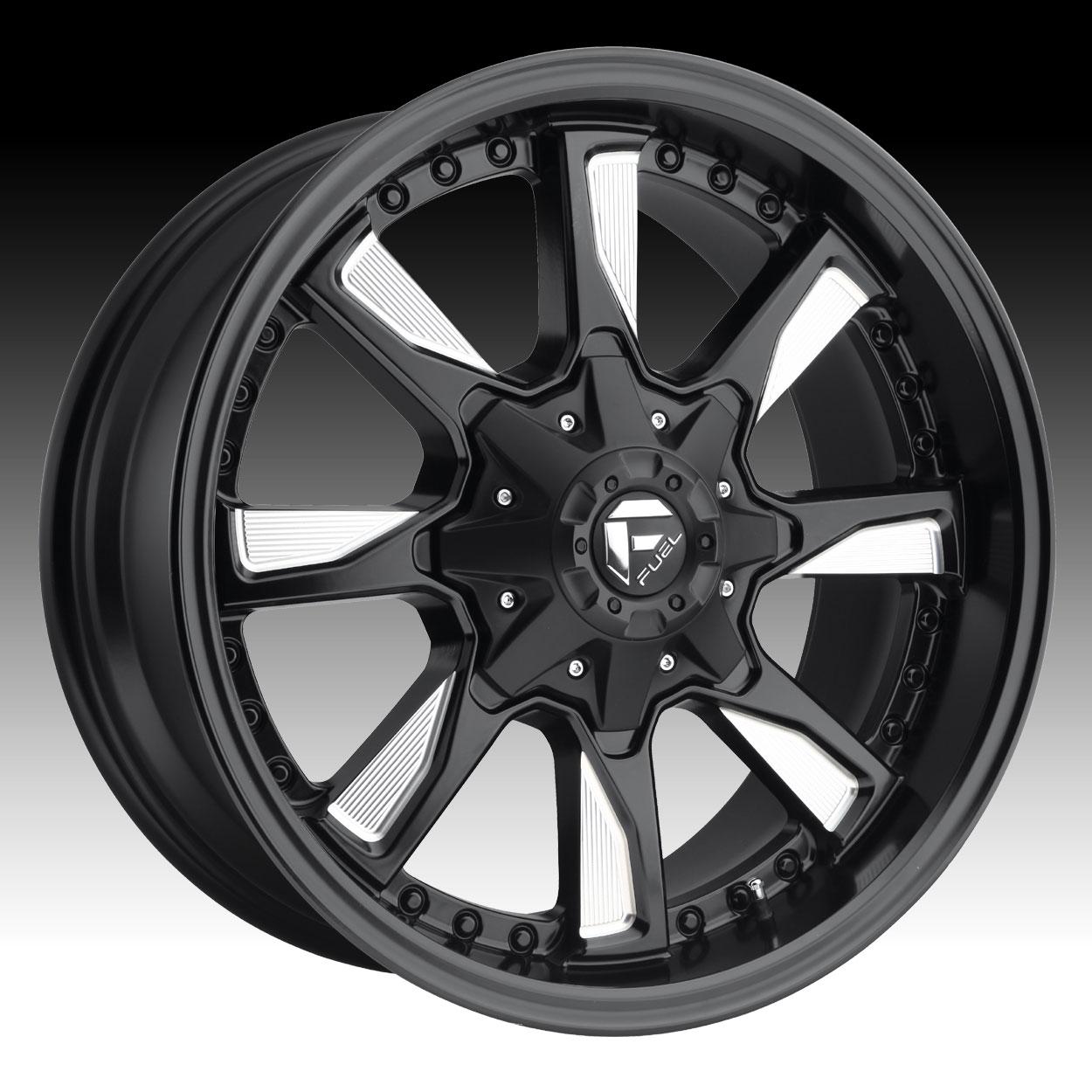 Truck Wheels Rims : Fuel hydro d matte black milled custom truck wheels