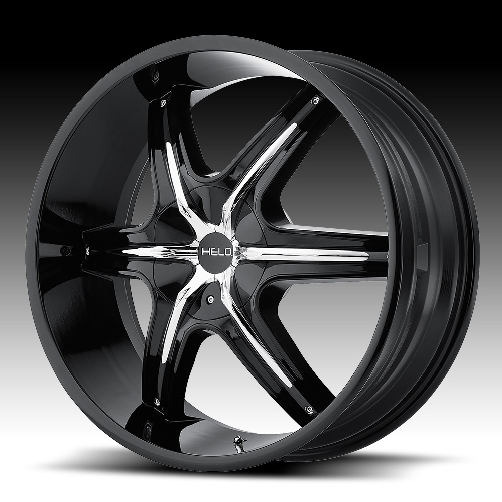 Helo He891 Gloss Black Chrome Inserts Custom Wheels Rims