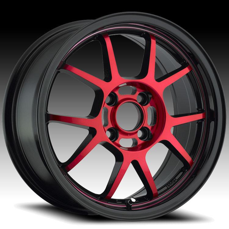 Konig Foil 17r 4l Black W Red Face Custom Rims Wheels