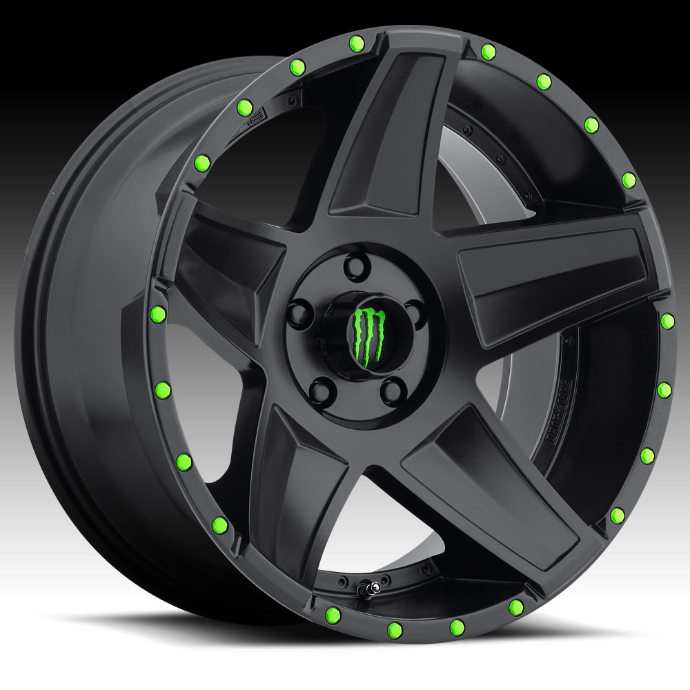Monster energy 648b satin black 20x9 8x6 5 18mm 648b for 5 star energy