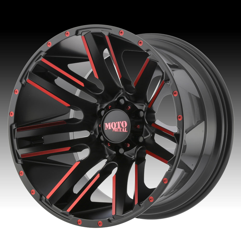 Moto Metal Mo978 Razor Black Machined Red Tint Wheels Rims Moto