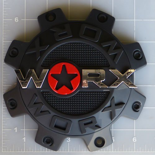 WRX-8808SB / Worx Alloy 8-Lug Satin Black Dually Front Center Cap 1