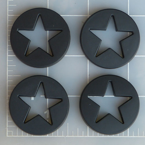 WRX-BLACKSTAR / Worx Alloy Black Star Logo Cover (Pack of 4) 1