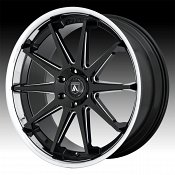 Asanti Black Label ABL-29 Emperor Gloss Black Milled Chrome Lip Custom Wheels Rims