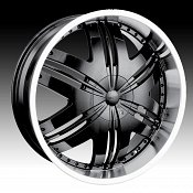 Dip D36 Phoenix Black w/ Machined Lip Custom Wheels Rims