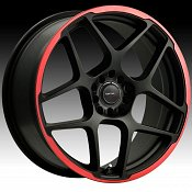 Drifz 301B 301 Monoblock Matte Black Red Strip Custom Rims Wheel