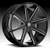 Dub Push S109 Black Milled Custom Wheels Rims