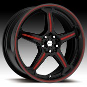 Focal F01 F-01 172 Gloss Black with Red Accents Custom Rims Whee