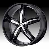 Helo HE844 844 Gloss Black w/ Chrome Inserts Custom Rims Wheels