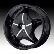 Helo HE846 846 Gloss Black w/ Chrome Inserts Custom Rims Wheels