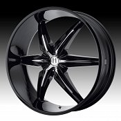 Helo HE866 866 Gloss Black w/ Chrome Inserts Custom Rims Wheels