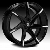 Lexani CSS-7 Gloss Black Machined Tip Custom Wheels Rims