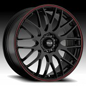 Maxxim Maze MZ Gloss Black with Red Stripe Custom Wheels Rims
