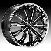 Motiv 402CB Mystique Gloss Black w/ Chrome Accents Custom Rims W