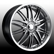 Platinum 200 Apex Hyper Black w/ Machined Lip Custom Rims Wheels