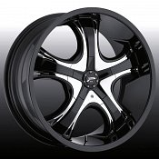 Platinum 415 / 416 Patriarch Black w/ Chrome Inserts Custom Rims