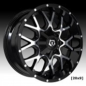 TIS Wheels 549MB Machined Gloss Black Custom Truck Wheels