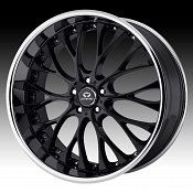 Lorenzo WL027 WL27 Gloss Black w/ Chrome Lip Custom Rims Wheels