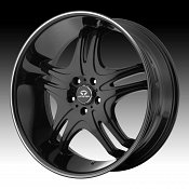 Lorenzo WL031 WL31 Gloss Black w/ Machined Stripe Custom Rims Wh