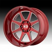 KMC XD Series XD844 Pike Brushed Red Milled Custom Wheels Rims