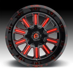 Fuel Hardline D621 Black Milled Red Tint Custom Wheels Rims 3