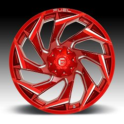 Fuel Reaction D754 Candy Red Milled Custom Truck Wheels Rims 2