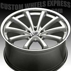 Lexani CVX-55 Silver Machined w/ Stainless Steel Chrome Lip Custom Wheels Rims 3