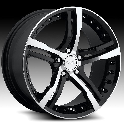 Cruiser Alloy 904MB 904 Switchblade Black and Machined Custom Rims Wheels 1