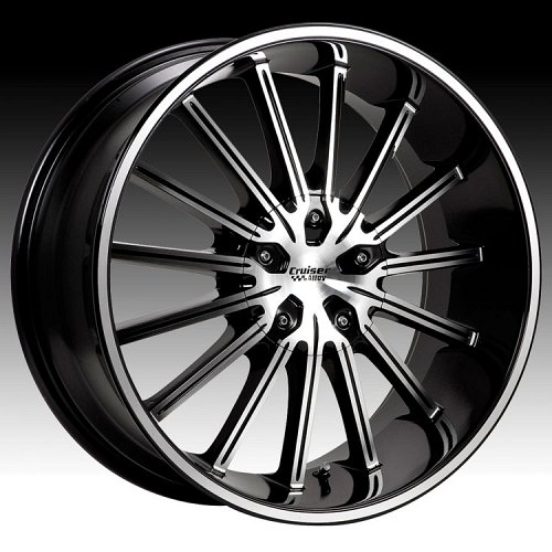 Cruiser Alloy 910MB 910 Attack Machined w/ Black Custom Rims Wheels 1