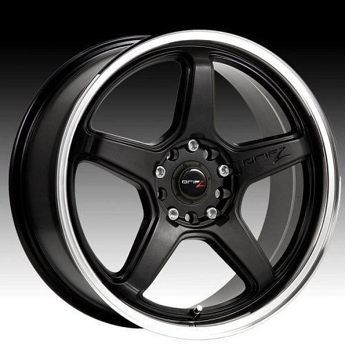 Drifz 304MB 304 Circuit Carbon Black w/ Machined Lip Custom Rims Wheels 1