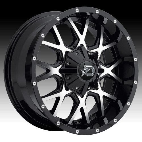 DropStars 645MB Black Machined Custom Wheels Rims 2