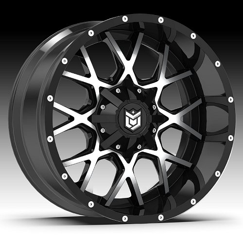 DropStars 645MB Black Machined Custom Wheels Rims 1