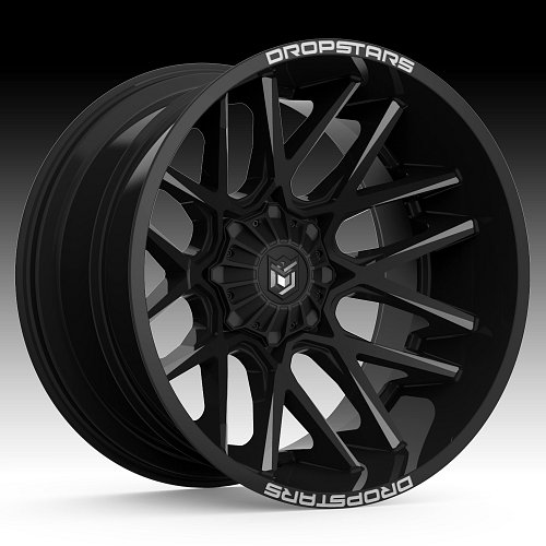 DropStars 654BM Black Milled Custom Wheels Rims 1