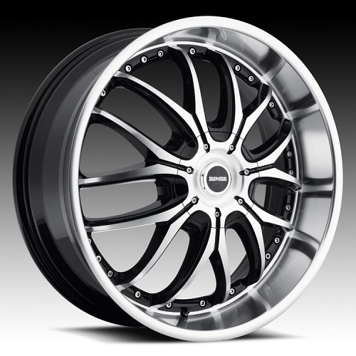 DropStars DS41 641MB Gloss Black Machined Custom Rims Wheels 1