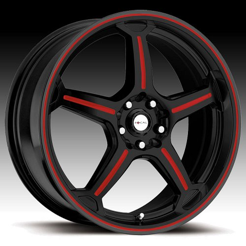 Focal F01 F-01 172 Gloss Black with Red Accents Custom Rims Wheels 1