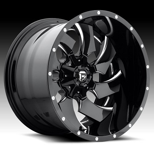 Fuel D239 Cleaver 2-PC Gloss Black Milled Custom Truck Wheels Rims 1