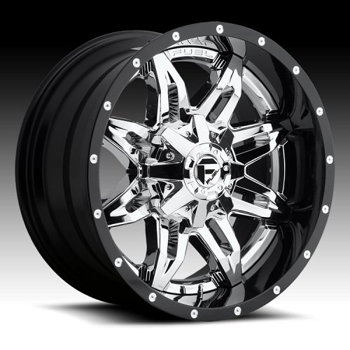 Fuel Lethal D266 2-PC Chrome w/ Black Barrel Custom Truck Wheels 1