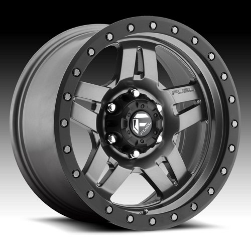 Fuel Anza D558 Matte Anthracite w/ Black Ring Custom Truck Wheels Rims 1