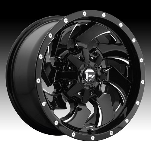 Fuel Cleaver D574 Gloss Black Milled Custom Truck Wheels Rims 1