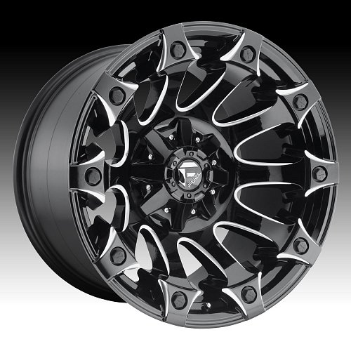 Fuel Battle Axe D578 Gloss Black Milled Custom Truck Wheels Rims 1