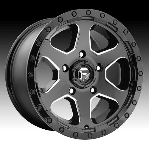Fuel Ripper D590 Gloss Black Milled Custom Truck Wheels Rims 1