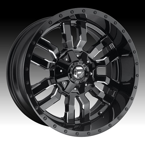 Fuel Sledge D595 Gloss Black Milled Custom Truck Wheels Rims 1