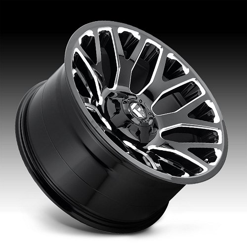 Fuel Warrior D607 Gloss Black Milled Custom Wheels Rims 2